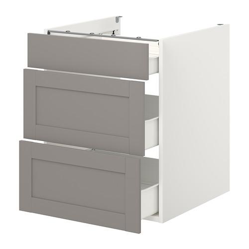 ENHET - 地櫃連3格抽屜, 白色/灰色 框架 | IKEA 香港及澳門 - PE773153_S4