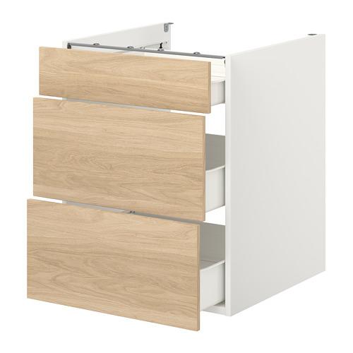 ENHET - 地櫃連3格抽屜, 白色/橡木紋 | IKEA 香港及澳門 - PE773356_S4