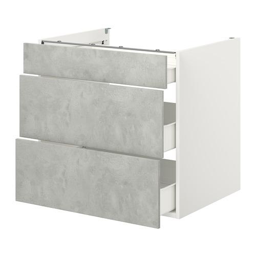 ENHET - 地櫃連3格抽屜, 白色/仿混凝土 | IKEA 香港及澳門 - PE773156_S4