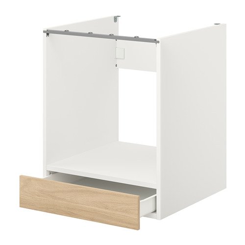ENHET - 焗爐地櫃連抽屜, 白色/橡木紋   IKEA 香港及澳門 - PE773160_S4