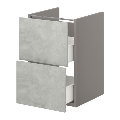 ENHET - 洗手盆用地櫃連2個抽屜, grey/concrete effect | IKEA 香港及澳門 - PE773238_S4