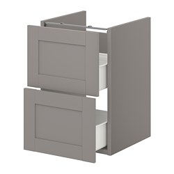 ENHET - 洗手盆用地櫃連2個抽屜, grey/grey frame | IKEA 香港及澳門 - PE773178_S3
