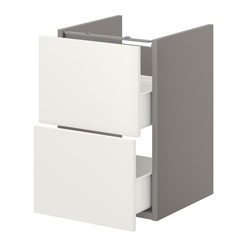 ENHET - 洗手盆用地櫃連2個抽屜, 灰色/白色   IKEA 香港及澳門 - PE773349_S4