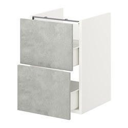 ENHET - 洗手盆用地櫃連2個抽屜, white/concrete effect | IKEA 香港及澳門 - PE773375_S3