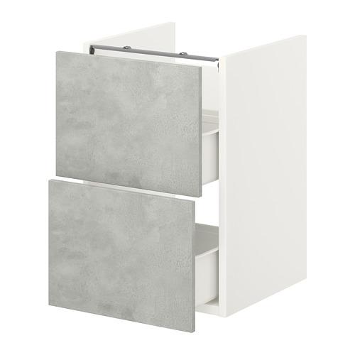 ENHET - base cb f washbasin w 2 drawers, white/concrete effect   IKEA Hong Kong and Macau - PE773375_S4