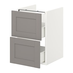 ENHET - 洗手盆用地櫃連2個抽屜, white/grey frame | IKEA 香港及澳門 - PE773181_S3