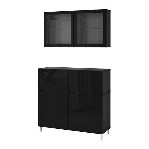 BESTÅ - 貯物組合連門/抽屜, black-brown/Selsviken/Ösarp high-gloss/black clear glass   IKEA 香港及澳門 - PE830164_S4
