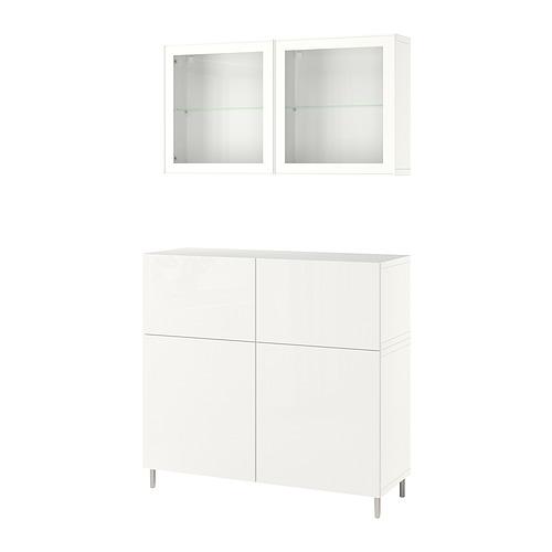 BESTÅ - 貯物組合連門/抽屜, white/Selsviken/Ösarp high-gloss/white clear glass   IKEA 香港及澳門 - PE830166_S4