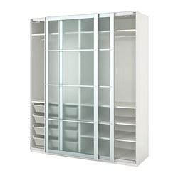 PAX - wardrobe, white/Nykirke frosted glass, check pattern  | IKEA Hong Kong and Macau - PE730664_S3