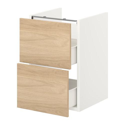 ENHET - base cb f washbasin w 2 drawers, white/oak effect | IKEA Hong Kong and Macau - PE773183_S4
