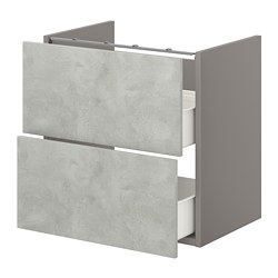 ENHET - 洗手盆用地櫃連2個抽屜, grey/concrete effect | IKEA 香港及澳門 - PE773205_S3