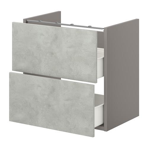 ENHET - base cb f washbasin w 2 drawers, grey/concrete effect   IKEA Hong Kong and Macau - PE773205_S4