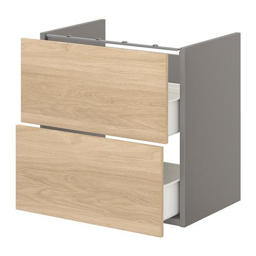 ENHET - 洗手盆用地櫃連2個抽屜, grey/oak effect | IKEA 香港及澳門 - PE773186_S4