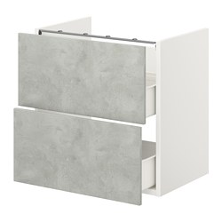 ENHET - 洗手盆用地櫃連2個抽屜, white/concrete effect | IKEA 香港及澳門 - PE773189_S3