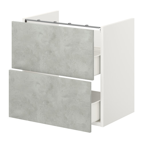 ENHET - base cb f washbasin w 2 drawers, white/concrete effect   IKEA Hong Kong and Macau - PE773189_S4