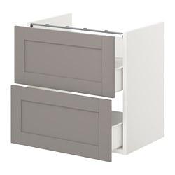 ENHET - 洗手盆用地櫃連2個抽屜, white/grey frame | IKEA 香港及澳門 - PE773190_S3