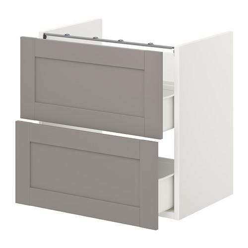 ENHET - 洗手盆用地櫃連2個抽屜, white/grey frame | IKEA 香港及澳門 - PE773190_S4