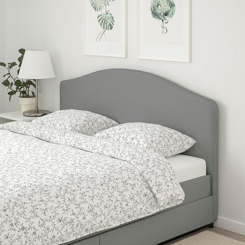 HAUGA 特大雙人軟墊式床架連4個貯物箱, Vissle 灰色