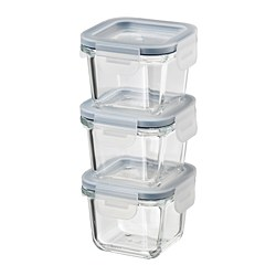 IKEA 365+ - food container with lid, square/glass, 180ml | IKEA Hong Kong and Macau - PE785017_S3