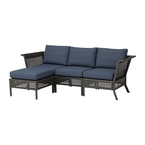 KUNGSHOLMEN 3-seat sofa with footstool, outdoor