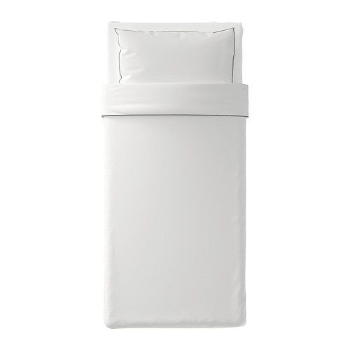 KUNGSBLOMMA - quilt cover and pillowcase, white/grey, 150x200/50x80 cm  | IKEA Hong Kong and Macau - PE688827_S4