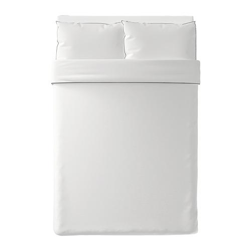 KUNGSBLOMMA 被套連2個枕袋, 白色/灰色, 200x200/50x80 cm
