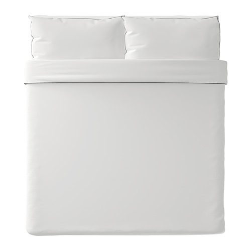 KUNGSBLOMMA - quilt cover and 2 pillowcases, white/grey, 240x220/50x80 cm  | IKEA Hong Kong and Macau - PE688832_S4