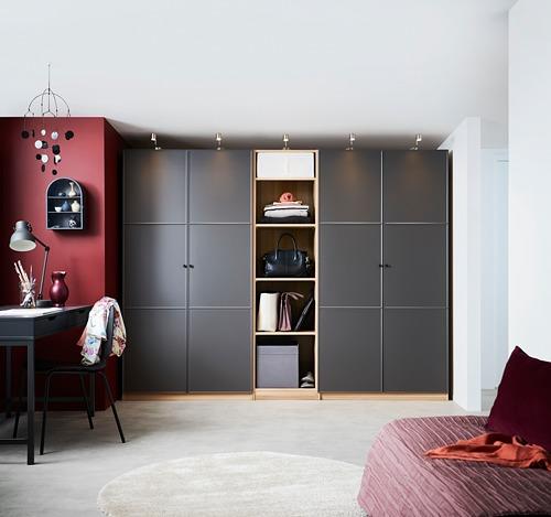 PAX - wardrobe, white stained oak effect/Meråker dark grey | IKEA Hong Kong and Macau - PH153478_S4