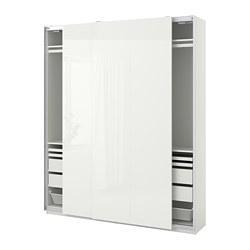 PAX/HASVIK - wardrobe combination, white/high-gloss white | IKEA Hong Kong and Macau - PE773527_S3