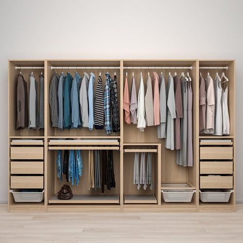 PAX/HOKKSUND - 衣櫃組合, 染白橡木紋/淺灰色光面 | IKEA 香港及澳門 - PE773528_S4
