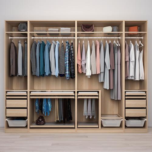 PAX/HOKKSUND - 衣櫃組合, white stained oak effect/high-gloss light grey | IKEA 香港及澳門 - PE773523_S4