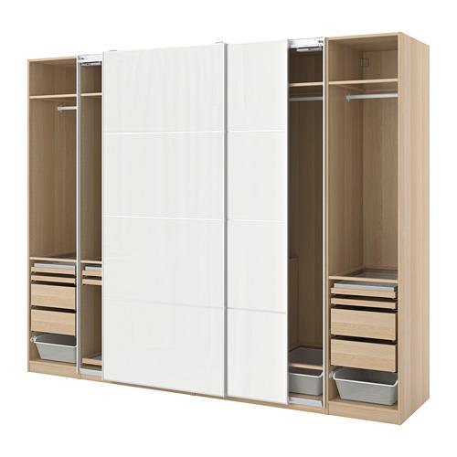 PAX/HOKKSUND - 衣櫃組合, white stained oak effect/high-gloss light grey | IKEA 香港及澳門 - PE773524_S4
