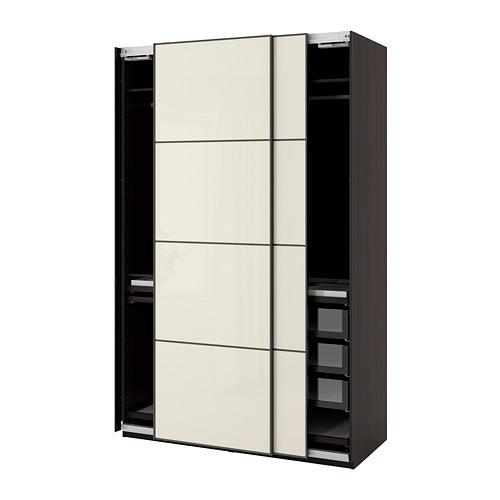 PAX/HOKKSUND - wardrobe combination, black-brown/high-gloss light beige | IKEA Hong Kong and Macau - PE773508_S4