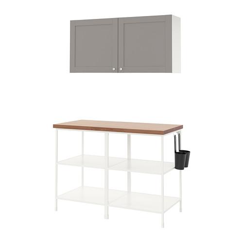 ENHET - 上牆式貯物架組合, white/grey frame | IKEA 香港及澳門 - PE773571_S4