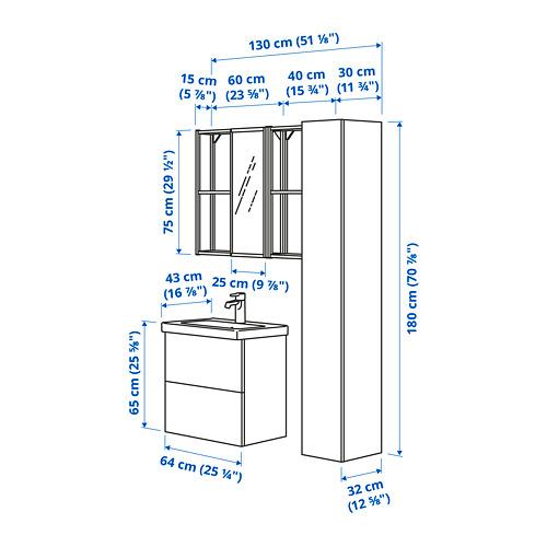 TVÄLLEN/ENHET - bathroom furniture, set of 18, oak effect/white Brogrund tap | IKEA Hong Kong and Macau - PE785317_S4
