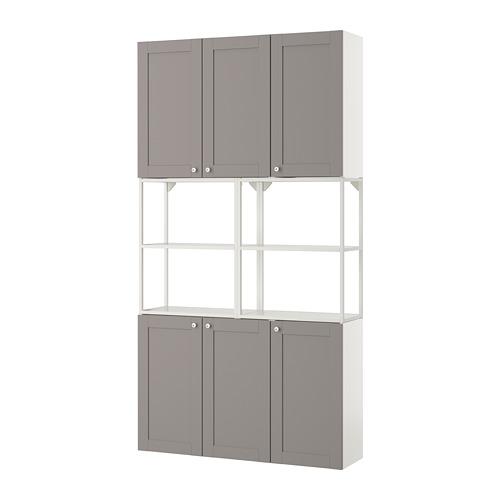 ENHET - 上牆式貯物架組合, white/grey frame | IKEA 香港及澳門 - PE773584_S4