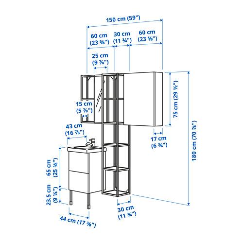 TVÄLLEN/ENHET - 浴室貯物組合 16件裝, grey frame/anthracite Lillsvan tap | IKEA 香港及澳門 - PE785417_S4