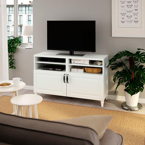 BESTÅ - TV bench with doors, white/Smeviken/Kabbarp white | IKEA Hong Kong and Macau - PE785506_S4