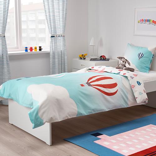 UPPTÅG - quilt cover and pillowcase, air balloon pattern/blue   IKEA Hong Kong and Macau - PE731097_S4