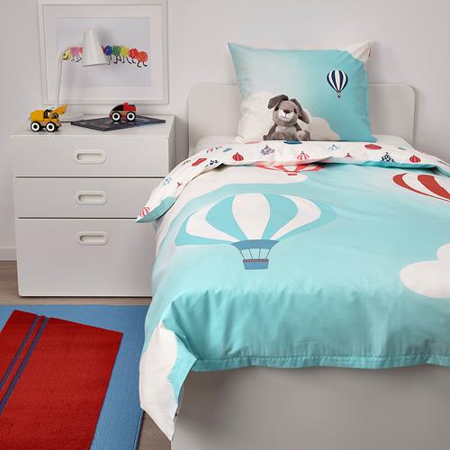 UPPTÅG - quilt cover and pillowcase, air balloon pattern/blue   IKEA Hong Kong and Macau - PE731096_S4