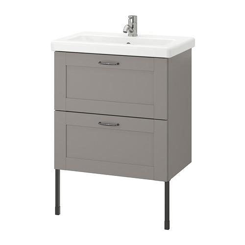 TVÄLLEN/ENHET - 雙抽屜洗手盆櫃, grey frame/grey Lillsvan tap | IKEA 香港及澳門 - PE830789_S4