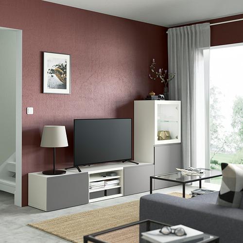 BESTÅ - TV storage combination/glass doors, white/Västerviken grey   IKEA Hong Kong and Macau - PE830797_S4