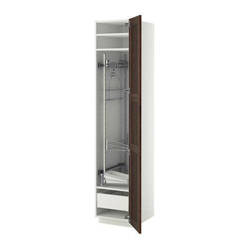 METOD/MAXIMERA - high cabinet with cleaning interior, white/Edserum brown | IKEA Hong Kong and Macau - PE372725_S4