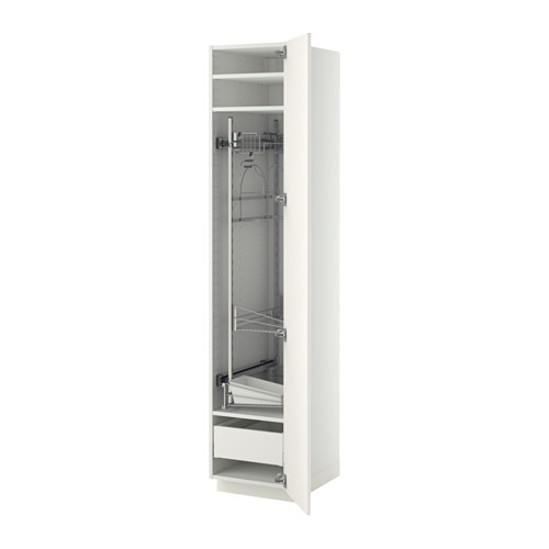 METOD/MAXIMERA - high cabinet with cleaning interior, white/Veddinge white | IKEA 香港及澳門 - PE372739_S4