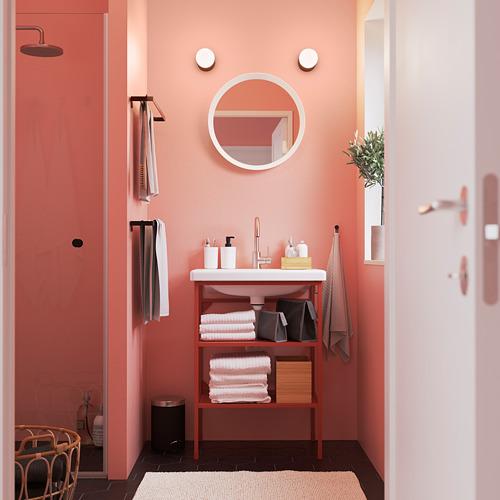TVÄLLEN/ENHET - open wash-stand with 2 shelves, red-orange/Glypen tap | IKEA Hong Kong and Macau - PE785811_S4