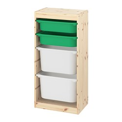 TROFAST - 貯物組合連物盒, light white stained pine green/white | IKEA 香港及澳門 - PE774088_S3
