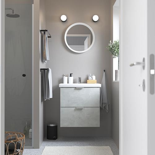 TVÄLLEN/ENHET - 雙抽屜洗手盆櫃, concrete effect/grey Pilkån tap | IKEA 香港及澳門 - PE785843_S4