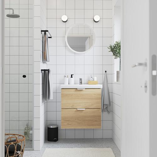TVÄLLEN/ENHET - 雙抽屜洗手盆櫃, 橡木紋/白色 PILKÅN水龍頭 | IKEA 香港及澳門 - PE785861_S4
