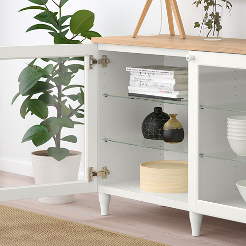 BESTÅ - storage combination with doors, white/Ostvik/Kabbarp white clear glass | IKEA Hong Kong and Macau - PE785923_S4