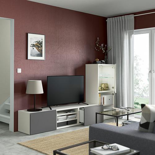 BESTÅ - TV storage combination/glass doors, white/Västerviken grey   IKEA Hong Kong and Macau - PE830865_S4